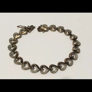 Jewelry - Sterling Silver Heart Bracelet Gold Wash, MO302